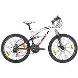 KCP - ATTACK Bicicleta de montaña, tamaño 26'' (66,0 cm), color negro/blanco, 21 velocidades Shimano