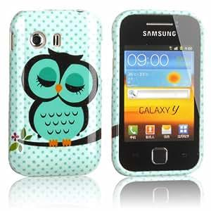 tinxi® Schutzhülle für Samsung Galaxy Y S5360 Hülle TPU Silikon Rückschale Schutz Hülle Silicon Case mit Eule Owl Muster in Hellgrün