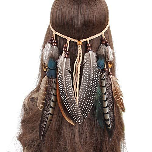 Cute Hippie Kostüm Frauen - MINTIME Damen Hippie Boho Indianer Stirnband Feder Stirnbänder für Abendkleider Halloween Karneval (Model 3)