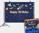 DANIU Blue Space Galaxy Stelle Sfondo Cartoon Rocket Universo Spazio stellato Festa di compleanno Sfondo Boy Girl Baby Showers Torta Decorazione tavolo Banner Photo Booth Puntelli 7x5FT