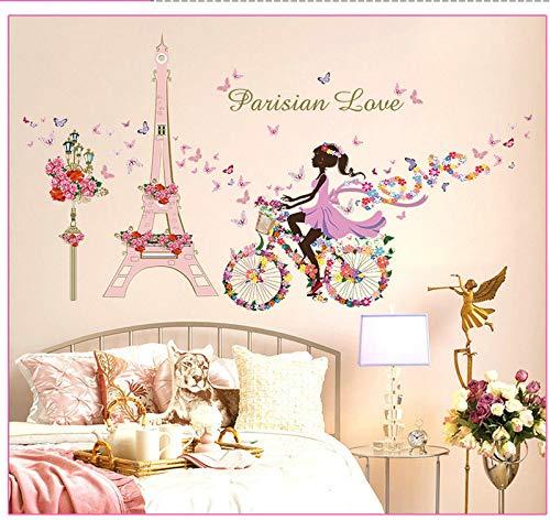 Romantique Paris Sticker Mural Pour Chambres D'enfants Tour Eiffel Fleur Papillon Fée Fille Équitation Mur Art Decal Home Decor Murale 145x80cm