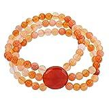 Lassiere Damen Flex-Armband für Frauen Mädchen 3 reihig Karneol Edelstein orange rot Geschenk Heilstein