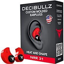 Custom Molded Earplugs: Perfect Fit Ear Protection for Safety, Travel, Work, Shooting (Red) by Decibullz