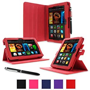 """rooCASE Amazon Kindle Fire HDX 7 Case - (2014 Current Generation) Dual View Multi Angle Tablet 7-Inch 7"""" Stand Cover - RED (With Auto Wake / Sleep Cover)"""