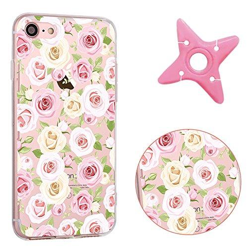 iPhone 7 Cover, MAOOY Moda Flower Animal Frutta Flamingo Modello Design Case per iPhone 7, Flessibile Ultra Sottile Leggero Bumper Copertura di Soft Gomma Sveglio Cristallo Gel Antiurto Protettiva per Bianco Rosa Rose