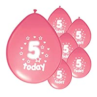 10 x 5TH BIRTHDAY GIRL / AGE 5 GIRL PINK PACK BIRTHDAY BALLOONS (PA)