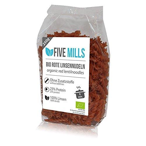Image of Linsennudeln BIO (1x250g) aus 100% Linsenmehl 250g mit 23% Protein vegan und glutenfrei von Five-Mills.de für Muskelwachstum und Muskelerhalt - Eiweißnudeln geeignet als Fleischersatz und Supplementersatz low fat