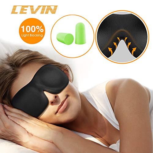 LEVIN Premium Schlafmaske 3D Schlafbrille - Augenmaske für Frauen & Herren Schlafen Bequem und Weich 100% Blackout und Verstellbarem Gummiband Inklusive Ohrstöpsel Reise unerlässlich, Schwarz