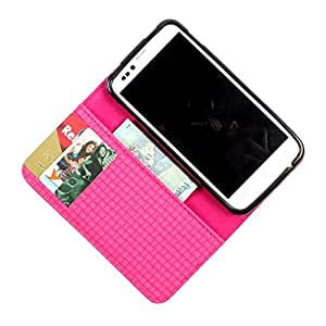 i-KitPit PU Leather Wallet Flip Case Cover For Micromax Canvas 2 A110 / A110Q (Pink)