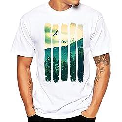 Internet Herren T-Shirt Plus Size Männer Druck T-Shirt Shirt Kurzarm T-Shirt Bluse (Weiß, L)