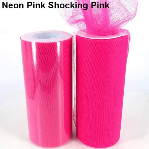 25yd Tüll-Rollenspule Hochzeit Supplies Brautschmuck Stuhl Tutu Craft Dekoration Neon Pink Shocking Pink ()