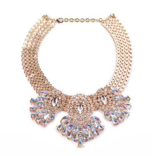 Preisvergleich Produktbild MSNHMU Anhänger Kristall Charms Statement Choker Halskette Für Frauen Mode Kostüm Schmuck,Gold-L