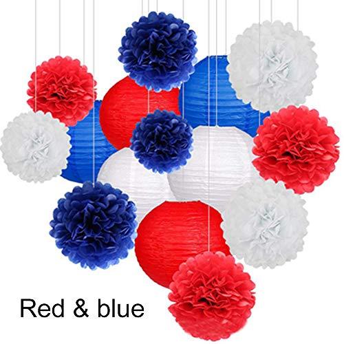 er Pom Poms Blumenkugeln und Papierlaternen, für Geburtstagsfeier, Babyparty und Hochzeitsdekorationen (Rot, Blau, Weiß) ()