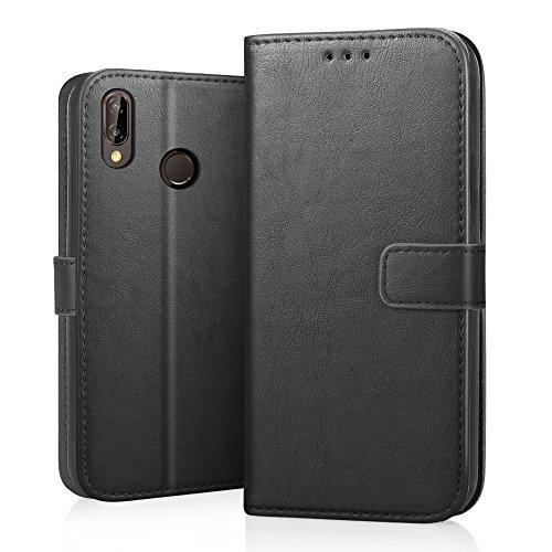 Cover Huawei P20 Lite, RIFFUE Custodia in Pelle PU - Libro Caso con Fessure di Carta, Chiusura Magnetica, Supporto Stand, Protettiva Case per Huawei P20 Lite - Nero