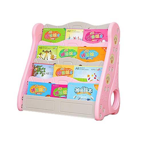 Eigene Wand-bücherregal (ZJZ Bücherregal Kinder Wand, Zeitungsständer Mit 4 Schichten, Stabiles Kinderregal Aufbewahrungsregal für Kinderzimmer, 82 x 42 x 82cm (Grün und Pink), Pink)