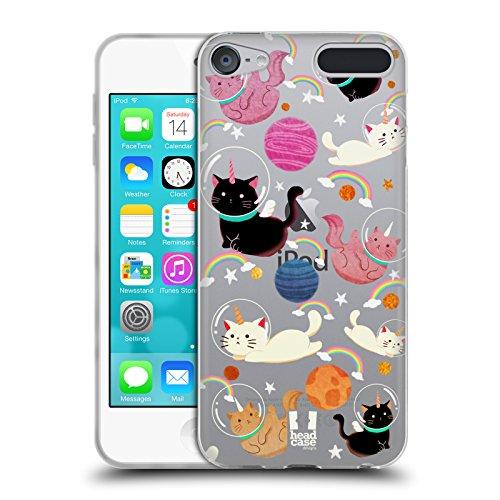 Head case designs gatto unicorni spaziali cover in morbido gel compatibile con touch 6th gen/touch 7th gen