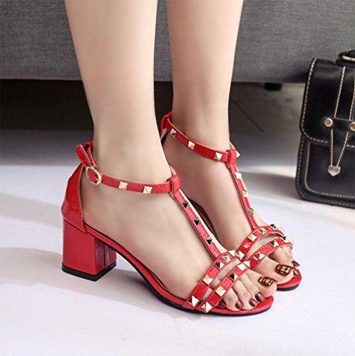 Offene Sandalen weiblichen Fischkopf Wort Schnalle Schuhe mit dicken Red