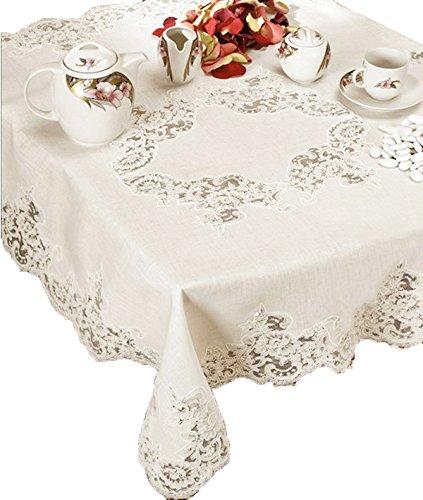 Copritavolo, centrotavola, centro grande in puro lino per il tavolo da cucina, sala da pranzo, salotto, tinello - intagliato a mano - made in italy
