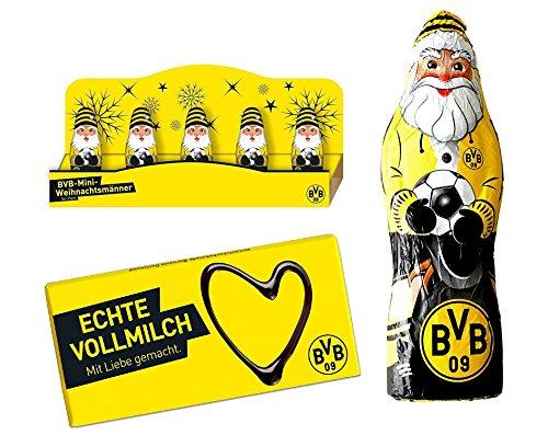 Preisvergleich Produktbild Borussia Dortmund Schokoladen Set: BVB Schokolade +BVB Schokoladen Weihnachtsmann 150gr + 5 BVB Mini Schokoladen-Weihnachtsmänner