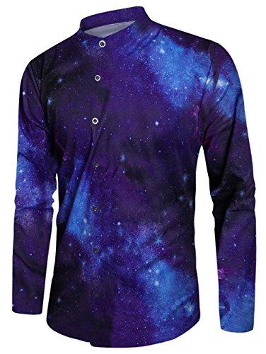 Chicolife Mens Galaxy Space Nebula Gestaltet Slim Fit Langarm - beiläufige Hawaii - Button - Down - Kleid Hemd