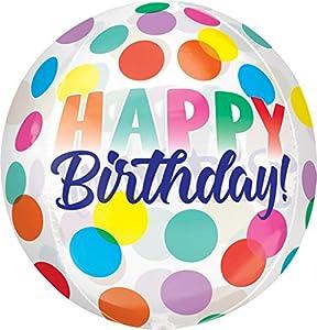 Amscan 3783801 Orbz Happy Birthday - Globo de plástico