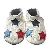 Freefisher Lauflernschuhe, Krabbelschuhe, Babyschuhe - in vielen Designs, Schwarz Blau Rot Stern auf Weiß, 0-6 Monate