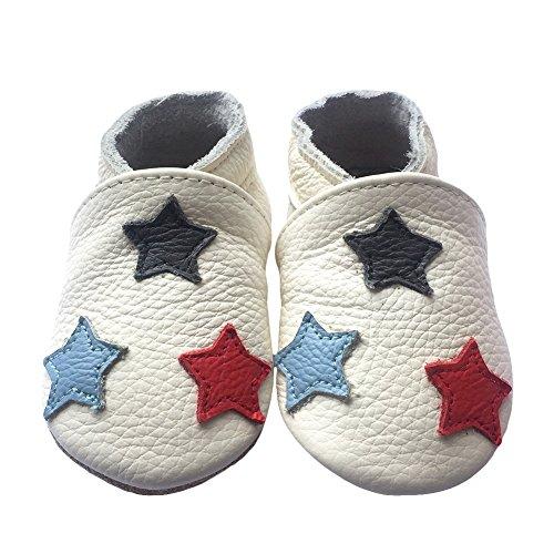 Freefisher Lauflernschuhe, Krabbelschuhe, Babyschuhe - in vielen Designs, Schwarz Blau Rot Stern auf Weiß, 18-24 Monate