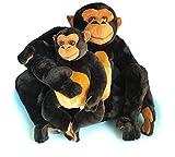 Mamá y bebé chimpancé de peluche (42 cm)