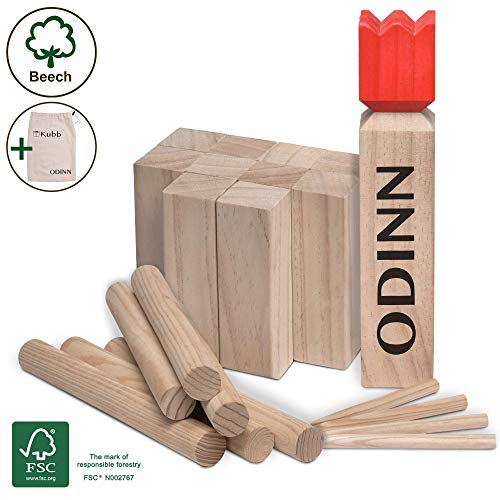 Moorland Original Kubb Spiel XXL Odinn - Schweres Buche Premium Holzspiel FSC®-Zertifiziert mit Stoffbeutel - Wikingerspiel Outdoor Spiele Schwedenschach Holzspiele