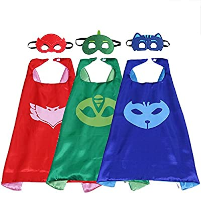PJ MASKS Superhero Cape and Mask Set Dress Up Costume 3 Characters - Catboy, Gekko & Owlette