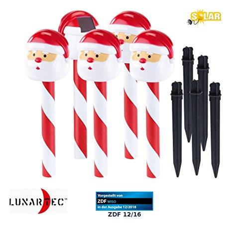 """Lunartec Solar-LED-Weihnachtsdeko: Solar-LED-Gartenstecker """"Weihnachtsmann"""", IP44, im 5er-Set (Deko für Weihnachten, Xmas, X-Mas, Christmas, Winter)"""