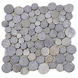 Divero 11 Fliesenmatten Naturstein Mosaik aus Marmor für Wand und Boden grau á 31 x 31 cm