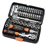 Tubayia 38-teiliges Werkzeugset Ratschenschlüssel Drehmomentschlüssel Schraubenzieher für...