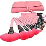SunJas - Kit de 24 brochas de maquillaje profesional con mango de madera y bolsa enrollada, rosa
