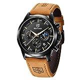 Benyar Fashion Herren Quarz Chronograph Wasserdicht Edelstahl Uhren Business Casual Sport Design Armbanduhr für Herren braun/schwarz