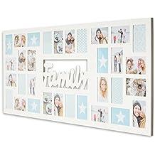 XXL Bilderrahmen 139x60cm Holz Weiß Family 32 Fotos 10x15 Fotorahmen Fotocollage