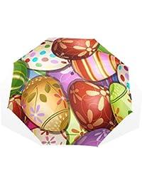 GUKENQ - Paraguas de Viaje, diseño de Huevos de Pascua, Ligero, antirayos UV