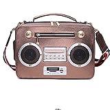 WWFF Creativo Borsa Femminile Multimediale Altoparlante Canto Radio Borsa Portatile Messenger Bag Supporto Pacchetto Scheda Radio Bluetooth Alta qualità (Colore : Metallic)