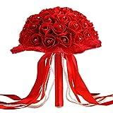 TIREOW Blumenstrauß Romantische Hochzeit Bunte Künstliche Hochzeitsstrauß Rosen Seidenblumen Kunstblumen Blumen Brautstrauß der Braut (C)