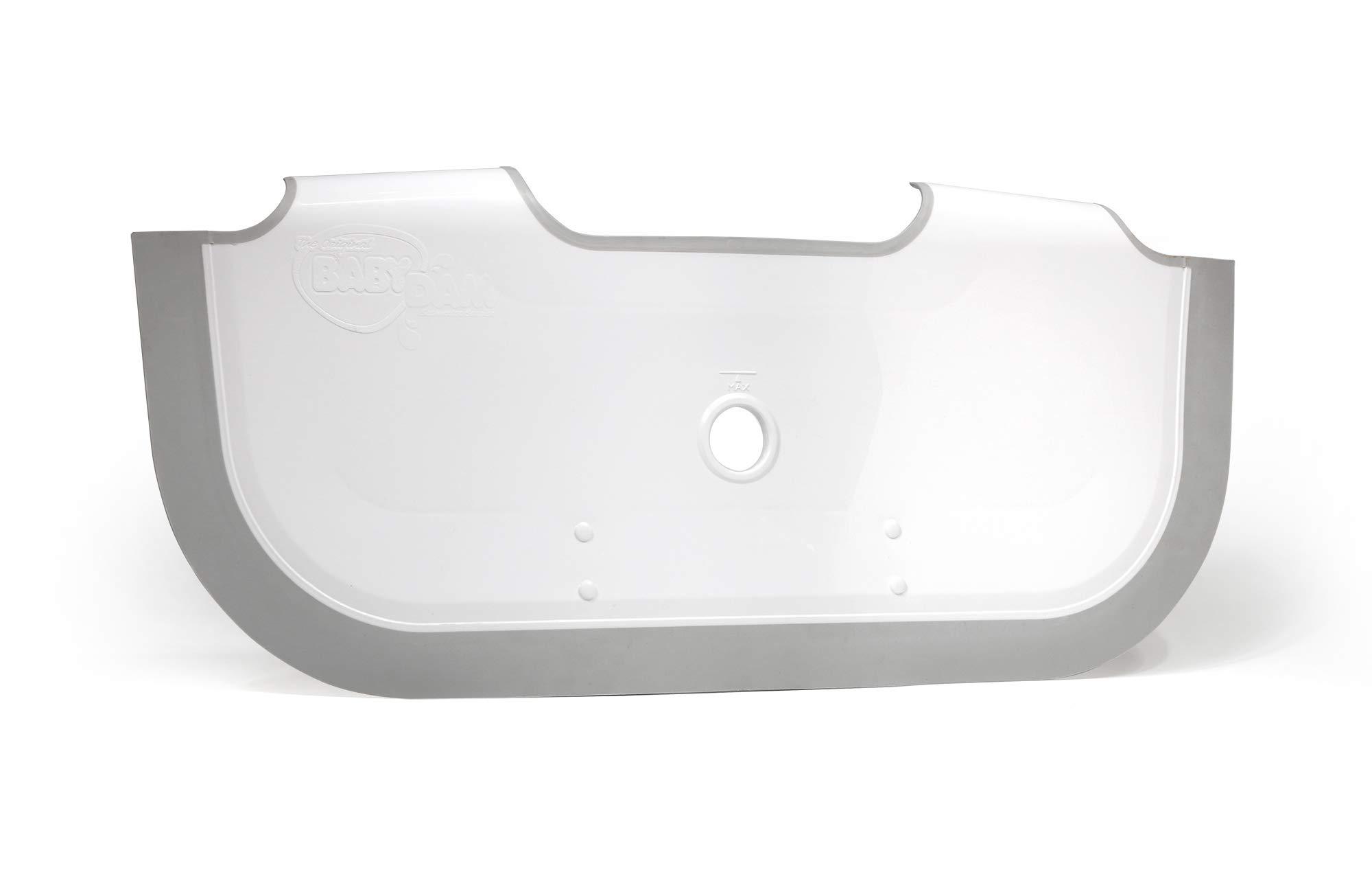 ** New ** BabyDam Bathwater Barrier | Baby Bath Tub | Converts A Standard Bath to A Baby Bath (White|Grey)