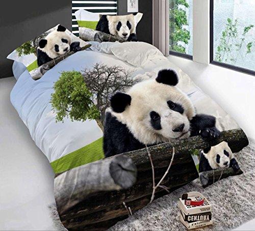 3D Baum Pandas Betten Set 4Piece Green Print Bettbezug Polyester Tröster Set Double Größe (Tiger Set Tröster)