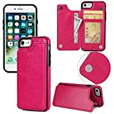 Long Love Apple Iphonex Mobile Shell 7/8Plus Crazy Horse Sticker Protective Case S9 Magnetic Buckle Multifunction Mobile Phone Case (iPhone 7/8, Rose)