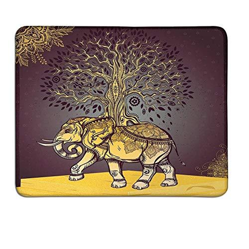 Ethnische schlanke Mauspad Asiatischer Elefant mit Baum auf dem Rücken Spirituelles Tier Glückssymbol Artart-Deko-Mauspad Dunkles lila goldenes Gelb - Badezimmer Asiatische