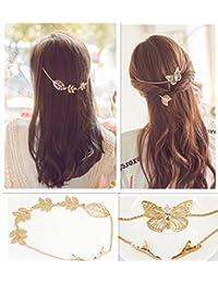 qtmy 2pcs mariposa hojas ramas Rhinestone Hair Pin Clip de pelo cadena de joyería accesorios para el pelo