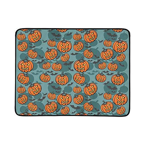 Kaorou pipistrelli di sabbia di zucche di halloween su blu portatile e tappetino pieghevole coperta 60x78 pollici a portata di mano tappetino per campeggio picnic all'aperto