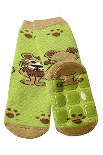 Weri Spezials Baby Voll-ABS Socke in Gruen Gr.19-22 (12-24 Monate) Ein lustiger Loewe - ganz rutschfest!