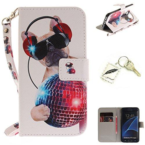 Preisvergleich Produktbild Silikonsoftshell PU Hülle für Samsung Galaxy S7 Edge (5,5 Zoll) Tasche Schutz Hülle Case Cover Etui Strass Schutz schutzhülle Bumper Schale Silicone case+Exquisite key chain X1#KE (2)