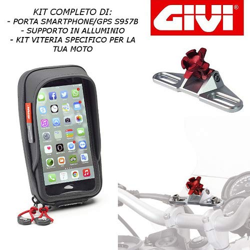 PORTA SMARTPHONE NAVIGATORE COMPLETO DI SUPPORTO S957B + S901A + 04SKIT SPECIFICO PER BMW R 1200 RT 2005 2013 GIVI