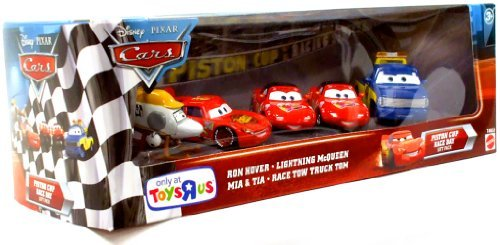 Disney Pixar Cars Piston Cup Race Day Gift Pack Ron Hover,Lightning Mc Queen,Mia&Tia,Race Tow Truck Tom - Truck Tow Diecast