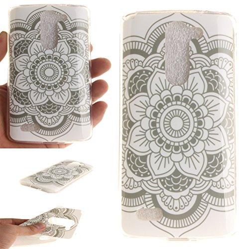 Qiaogle Teléfono Caso - Funda de TPU silicona Carcasa Case Cover para LG L Bello D331 D335 D337 (5.0 Pulgadas) - TX35 / Blanco Mandala